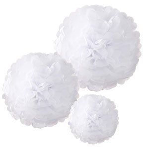 Pom Poms White in Mixed Sizes  (pack of 3)