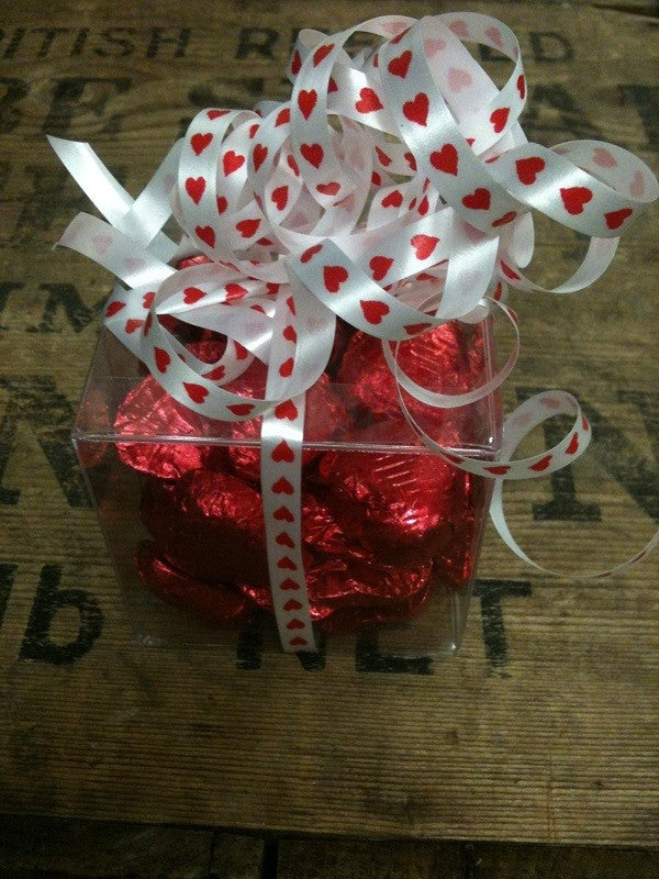 30x Red Foil Heart Chocolates in a Clear Plastic Box with Curling Ribbon