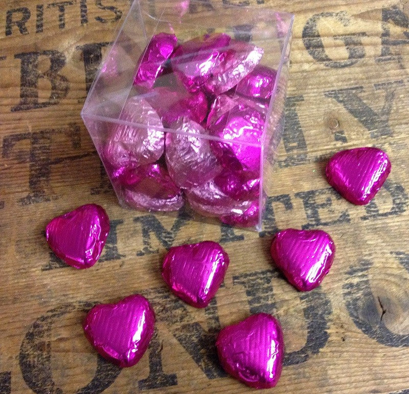 30 Heart Shaped- Mixed Pink Foil Wrapped Chocolates in a Clear Plastic Box with Curling Ribbon
