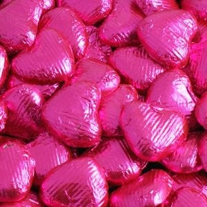 Chocolate Foil Wrapped Hearts Hot Pink pkt. 100
