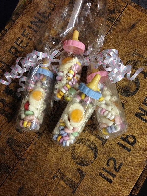 4 x Mini Baby Bottle Sweets for Baby Shower Prizes