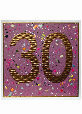Purple Paint Splatter 30th Birthday Card