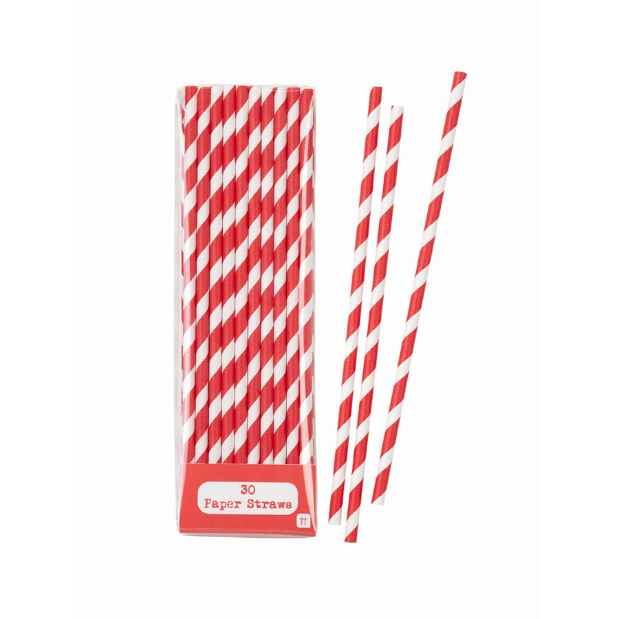 Straws - Red & White Stripey Paper Straws x 30 Wedding - Party