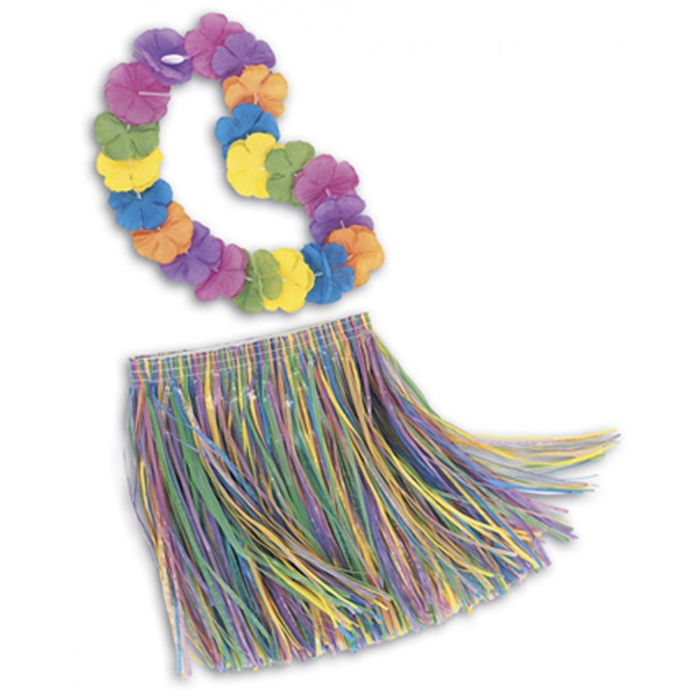 Child's Grass Skirt and Lei Set