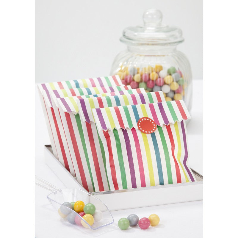 10 Multi Coloured Striped Treat Bags