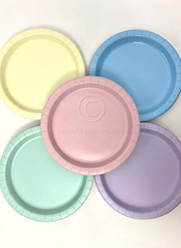40 x Pastel Rainbow Ice Cream Shade Paper Party Plates