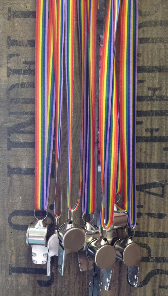 Accesories - 6 Metal Whistles with Rainbow Ribbon