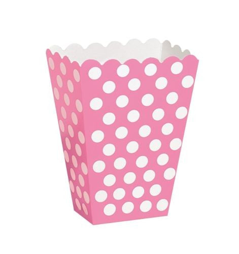 8 Polka Dot Treat Boxes (Pink) With 8 Cellophane Bags