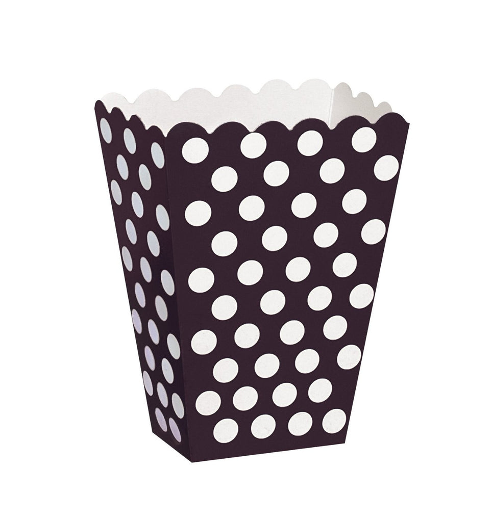 8 Polka Dot Treat Boxes (Black) With 8 Cellophane Bags