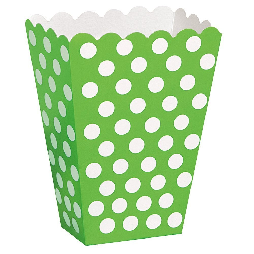 8 Polka Dot Treat Boxes (Green) With 8 Cellophane Bags