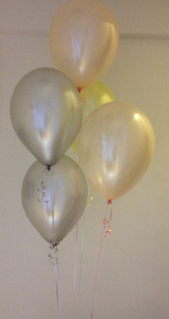 Sun Blush Pearlised Latex Balloons with Curling Ribbon