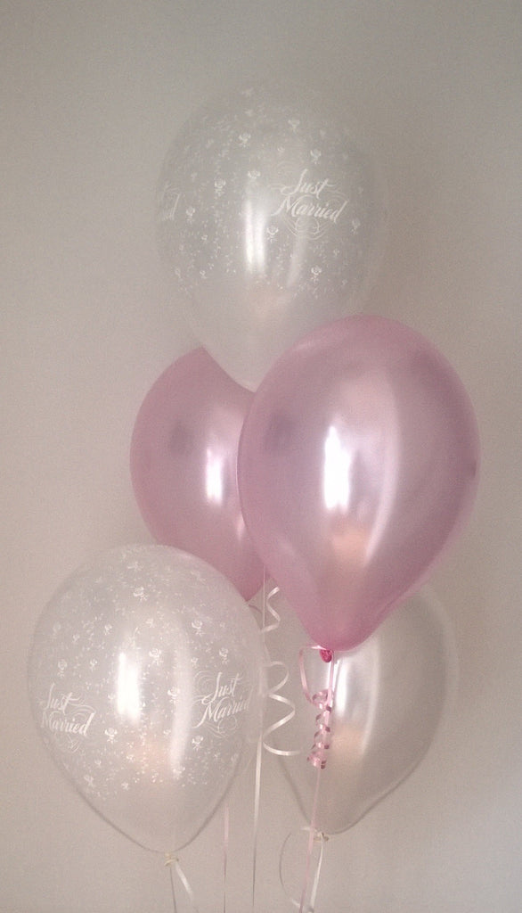 Pearlised Pink Just Married Wedding Balloons with Curling Ribbon