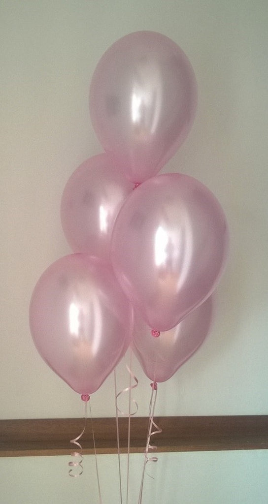 Peony Pink Pearlised Latex Balloons with Curling Ribbon