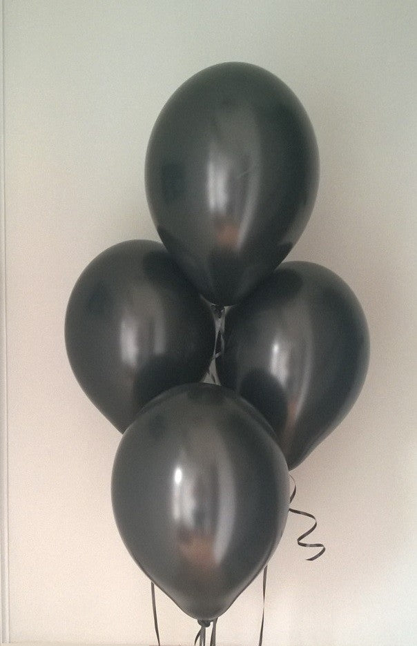 Midnight Black Pearlised Latex Balloons with Curling Ribbon