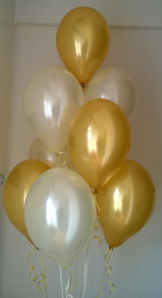 Glamorous Gold Range Pearlised Latex Balloons with Curling Ribbon