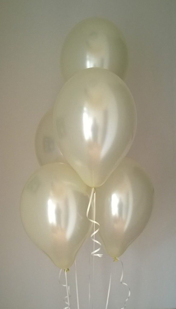 Ivory Range Pearlised Latex Balloons with Curling Ribbon
