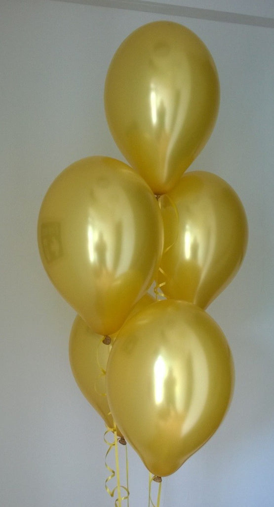 Gold Range Pearlised Latex Balloons with Curling Ribbon
