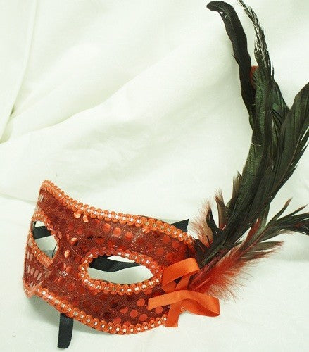 Mask Red, With Feathers, and Ribbon Tie to Fasten