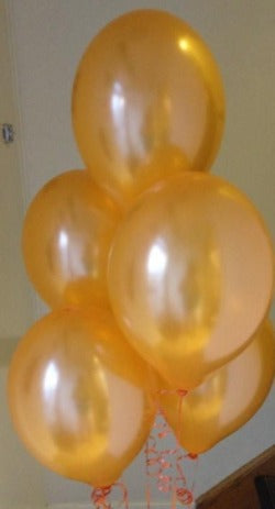 Saffron Orange Pearlised Latex Balloons with Curling Ribbon