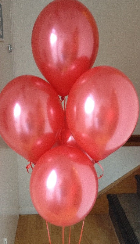 Ruby Red Pearlised Latex Balloons with Curling ribbon