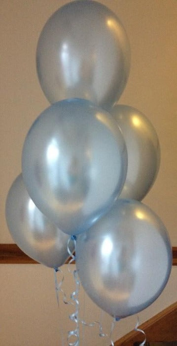 Powder Blue Pearlised Latex Balloons with Curling ribbon