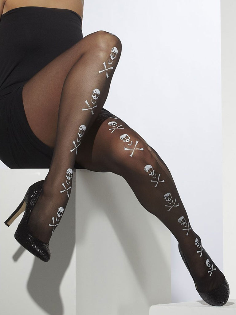 Tights with Skulls and Crossbone Design