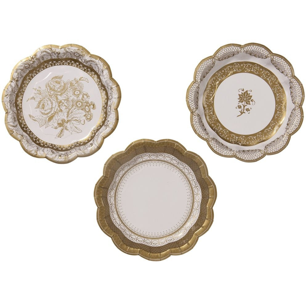 Decorations - Small Paper Plates Ivory and Gold