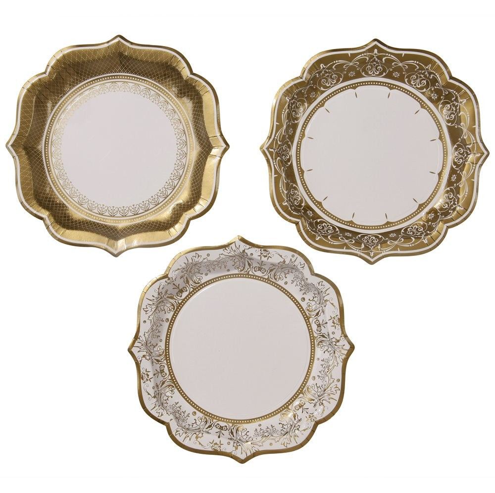 Decorations - Paper Plates Ivory and Gold