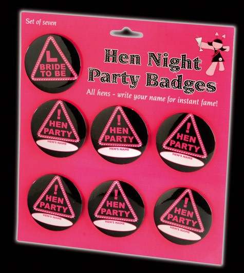 Games - 7x Hen Night Black and Hot Pink - Party Badges!