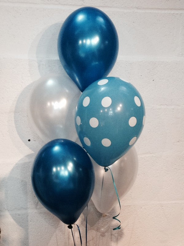 Pearlised Balloons, Blue Spotty, Blue and White (Helium Quality)