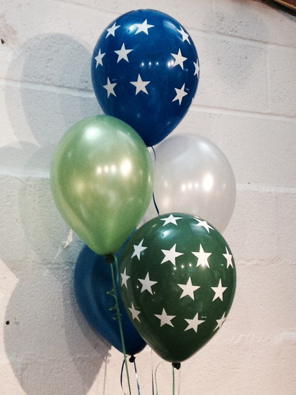 Pearlised Balloons, Blue & Green Stars, Navy Blue, Green & White (Helium Quality)