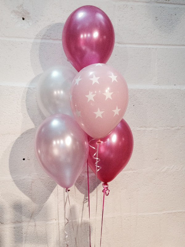 Pearlised Balloons, Pink Stars, Hot Pink, Pale Pink & White (Helium Quality)