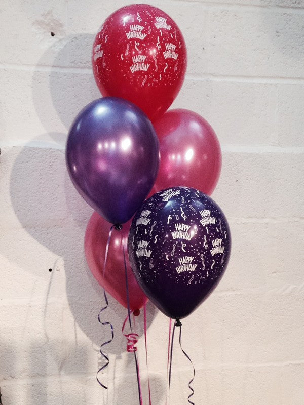 Happy Birthday! Pearlised Balloons, Hot Pink & Purple (Helium Quality)
