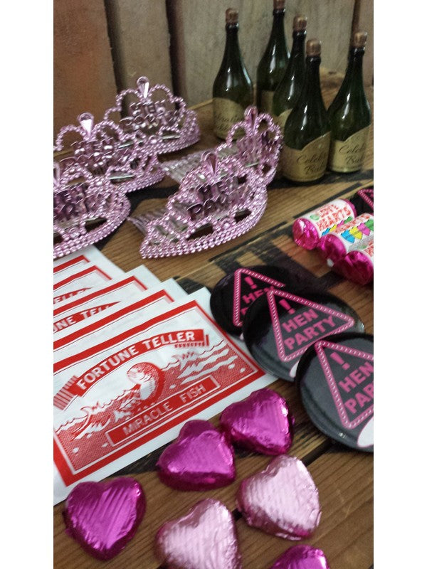 6x Hen Night Treats Party Bags - Mini Tiara, Champagne Bubbles, Party Badge, Shot Glass, Future Telling Fish & Sweets!