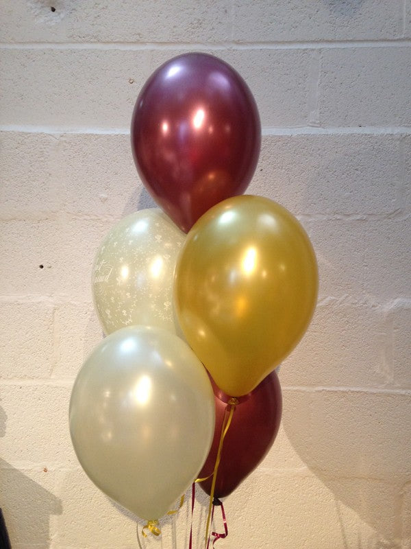 Burgundy, Ivory & Gold Pearlised Just Married Wedding Range Latex Balloons (Helium Quality)