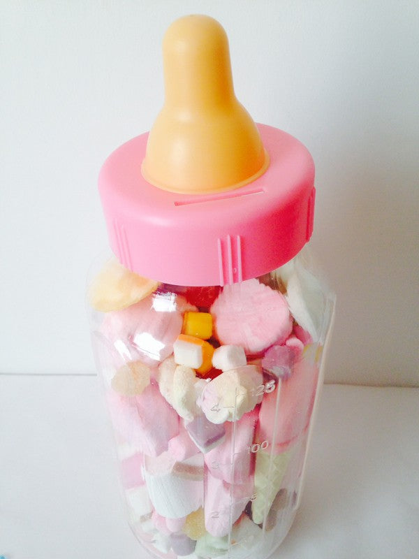 PINK Baby's Bottle: Guess How Many Sweets Game (Filled)