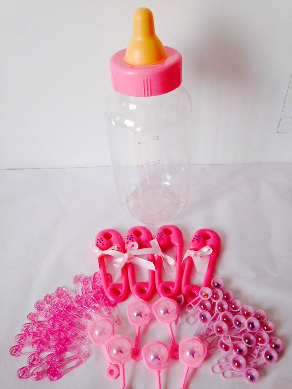 Baby Shower - Pink - Gift or Decoration Kit! Large Empty Baby Bottle, Novelty Nappy Pins & Baby Rattles