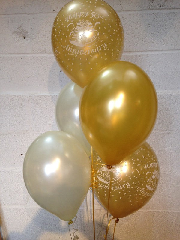 Golden Wedding (50th Anniversary) Pearlised Balloons, Gold & Ivory (Helium Quality)