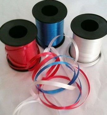 Pack of 3 curling ribbon - Union Jack colours  red white blue  (3x100yrds) Royal