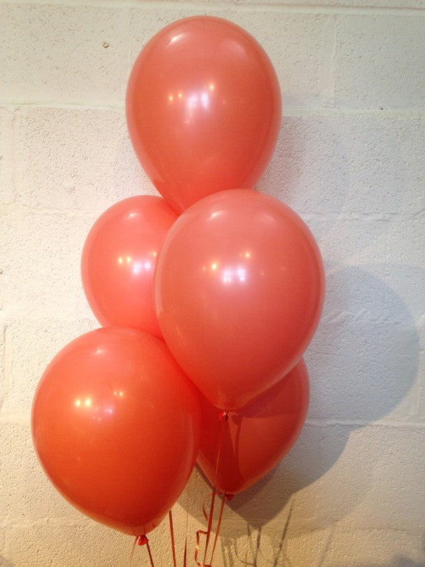 Coral Shade Range Latex Balloons (Helium Quality)