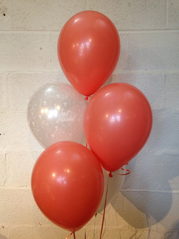 Coral & White Pearlised Just Married Wedding Range Latex Balloons (Helium Quality)