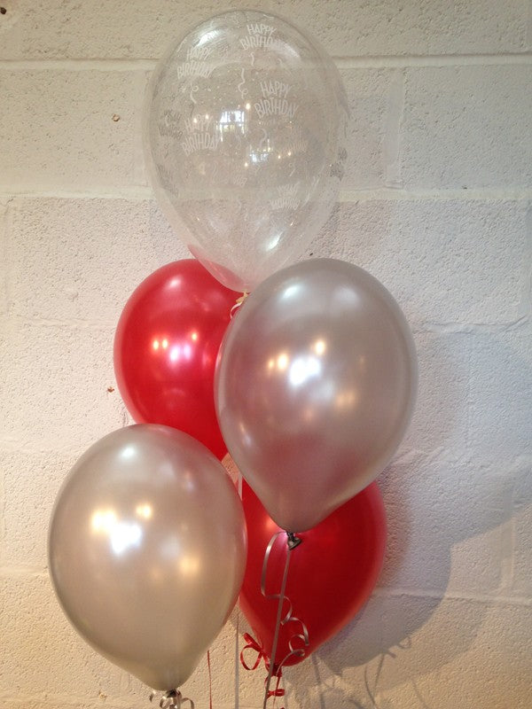 Red, Silver and 'Happy Birthday' Range Pearlised Latex Balloons with Curling Ribbon