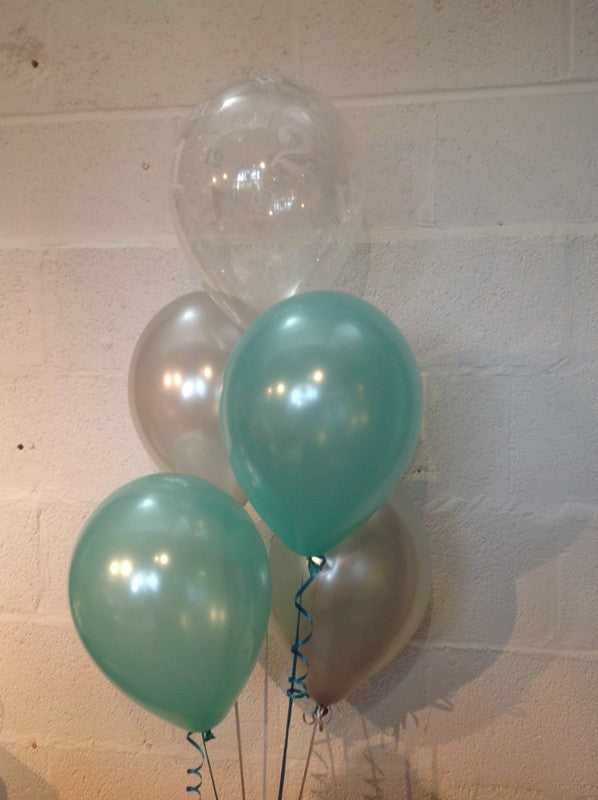 Aqua, Silver and 21st Aged Range Pearlised Latex Balloons with Curling Ribbon