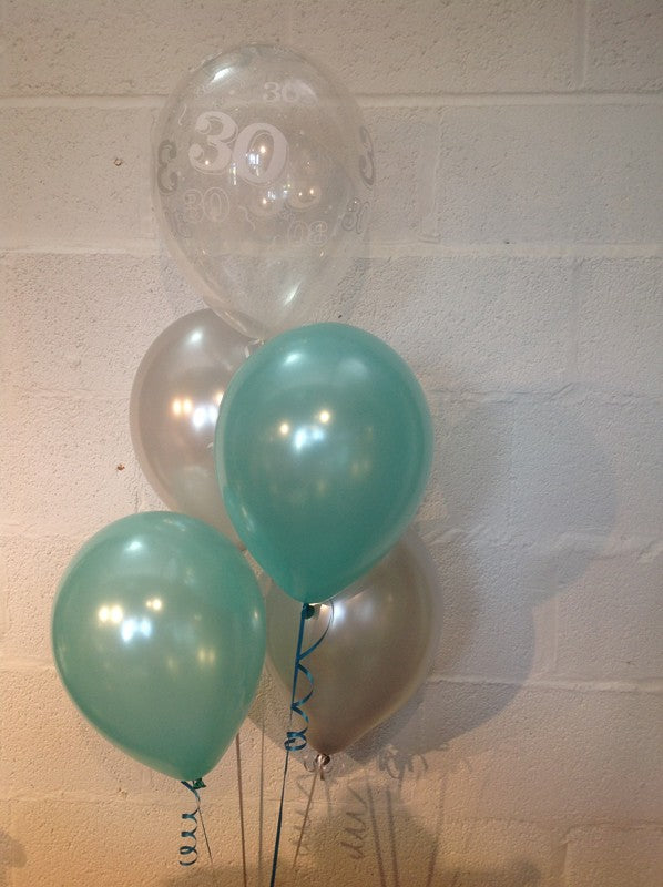 Aqua, Silver and 30th Aged Range Pearlised Latex Balloons with Curling Ribbon