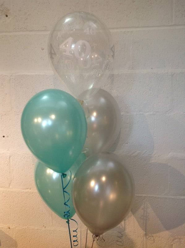 Aqua, Silver and 40th Aged Range Pearlised Latex Balloons with Curling Ribbon
