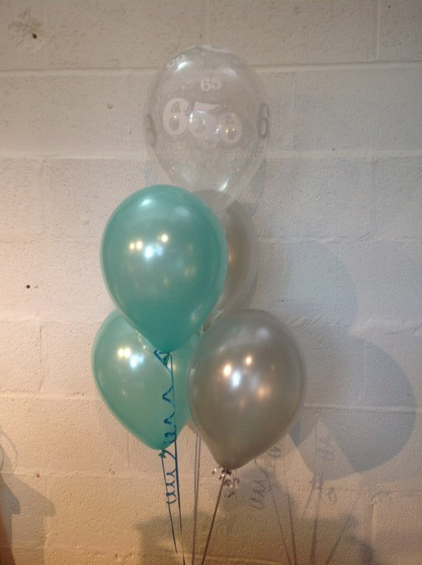 Aqua, Silver and 65th Aged Range Pearlised Latex Balloons with Curling Ribbon