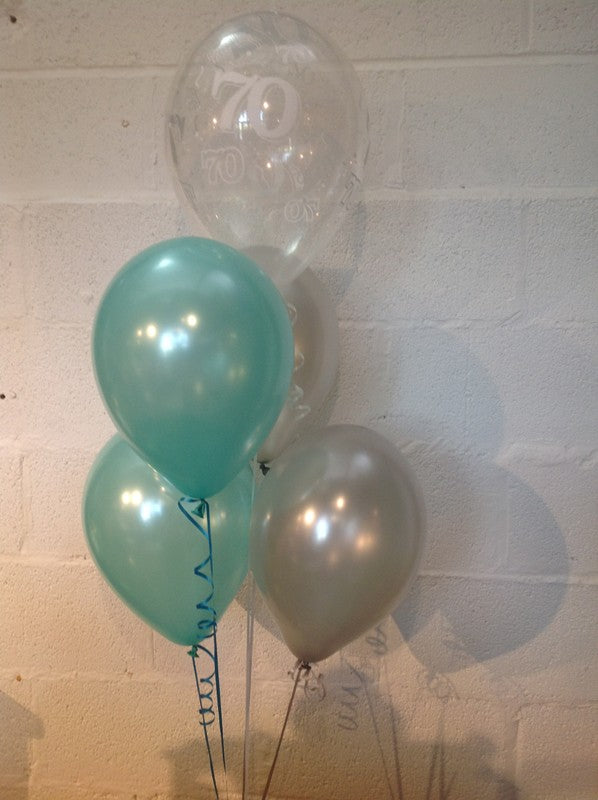 Aqua, Silver and 70th Aged Range Pearlised Latex Balloons with Curling Ribbon