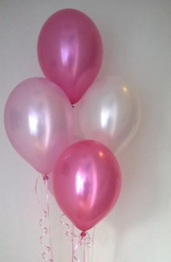 Pink Range Pearlised Latex Balloons with Curling Ribbon