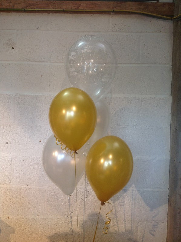 Gold, Silver and 'Happy Birthday' Range Pearlised Latex Balloons with Curling Ribbon