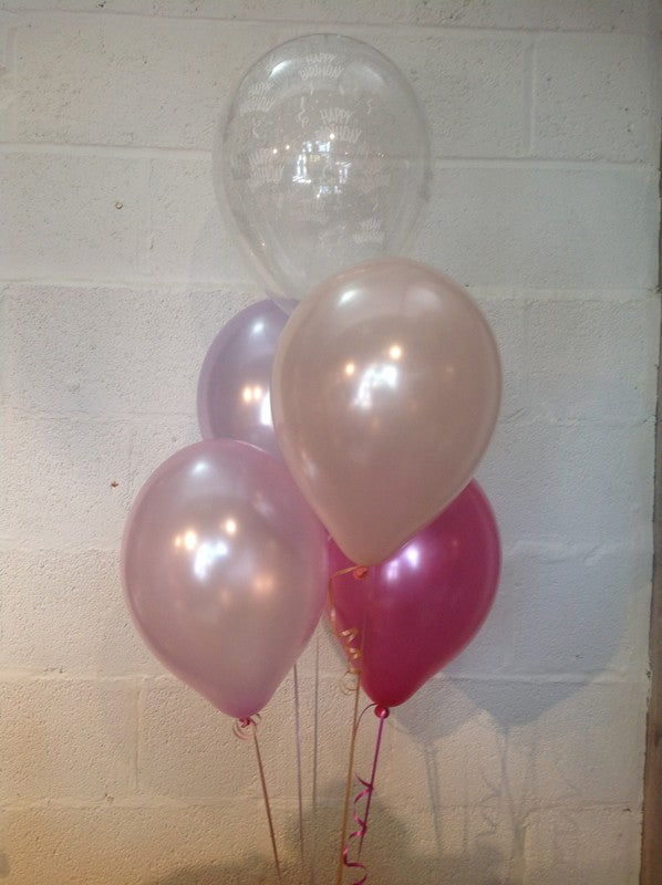 Lilac, Blush, Hot Pink, Pale Pink and 'Happy Birthday' Range Pearlised Latex Balloons with Curling Ribbon
